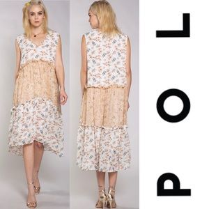 ⭐️HP⭐️POL Three Tiered Floral Maxi Slip On Dress